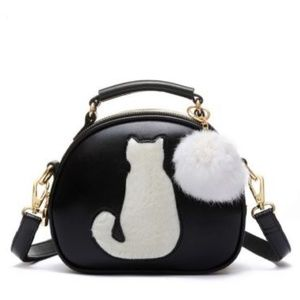 Handbags - Cat Shoulder Purse (Black and White)